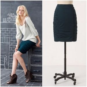 Cartonnier Acting Out Teal Ruched Pencil Skirt